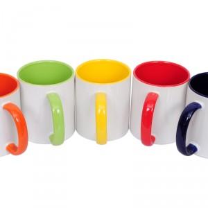 Чаша с цветна дръжка и цветна вътрешна стена